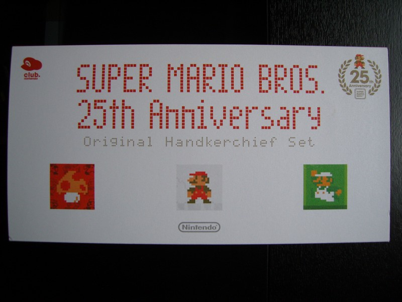 Mario 25th Anniversary Original Handkerchief Set Club Nintendo Japon 2010