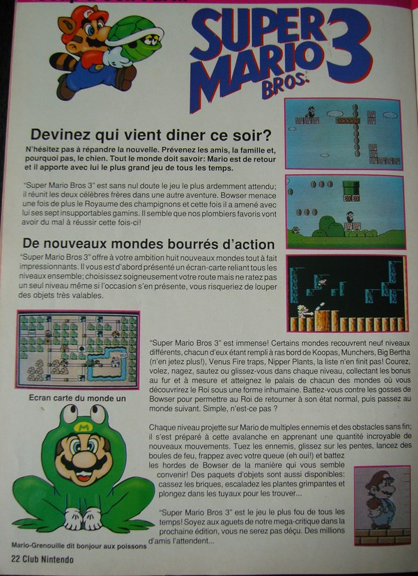 "Super Mario Bros. 3 - Extrait du magazine ""Club Nintendo"""