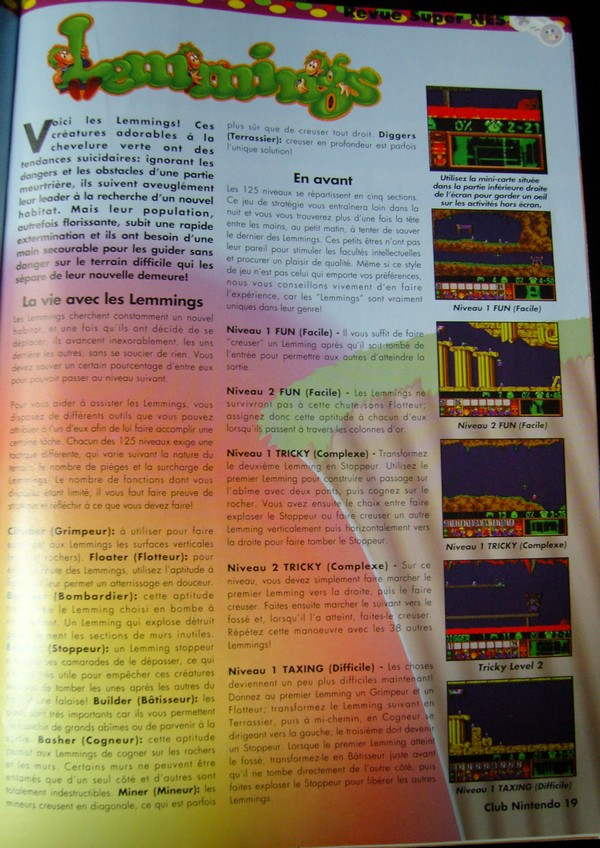 "Lemmings - Extrait du magazine ""Club Nintendo"""