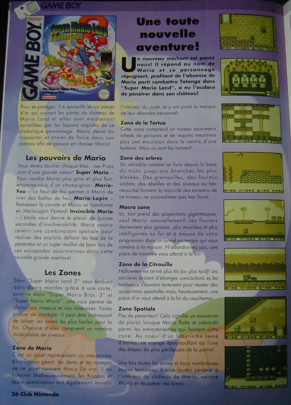 "Super Mario Land 2 - Extrait du magazine ""Club Nintendo"""
