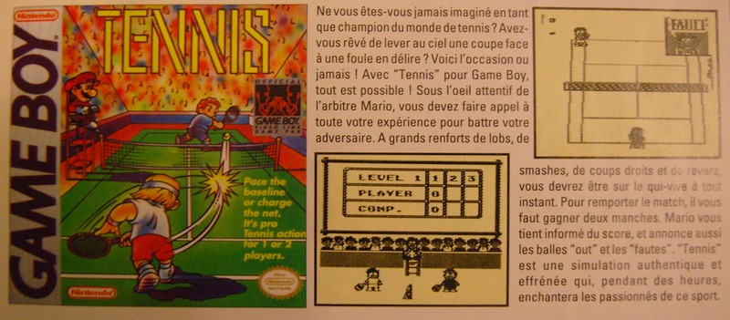 "Tennis - Extrait du magazine ""Club Nintendo"""