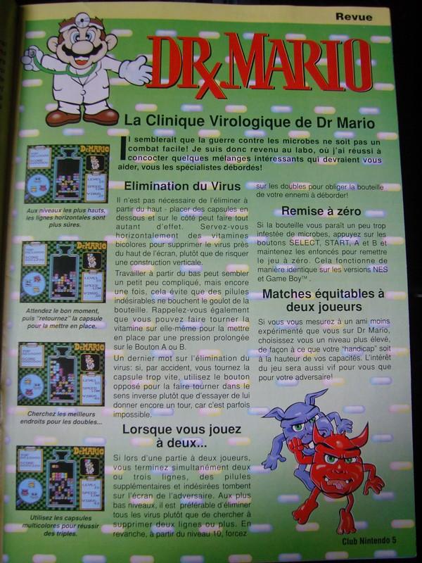 """Dr. Mario - Extrait du magazine """"Club Nintendo"""""""